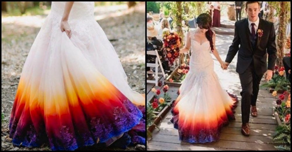 Young Bride Dip-Dyes Her Wedding Gown To Include A Stylish Splash Of ...